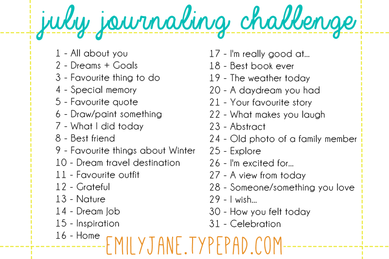 July journaling challenge prompts
