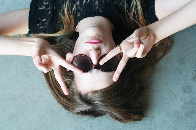 EmilyJane X Choies HoundstoothPrintedPantsTopShopFlatsBlackLaceTopSunglasses fashionbeautybloggerteenagervloggerstyle4
