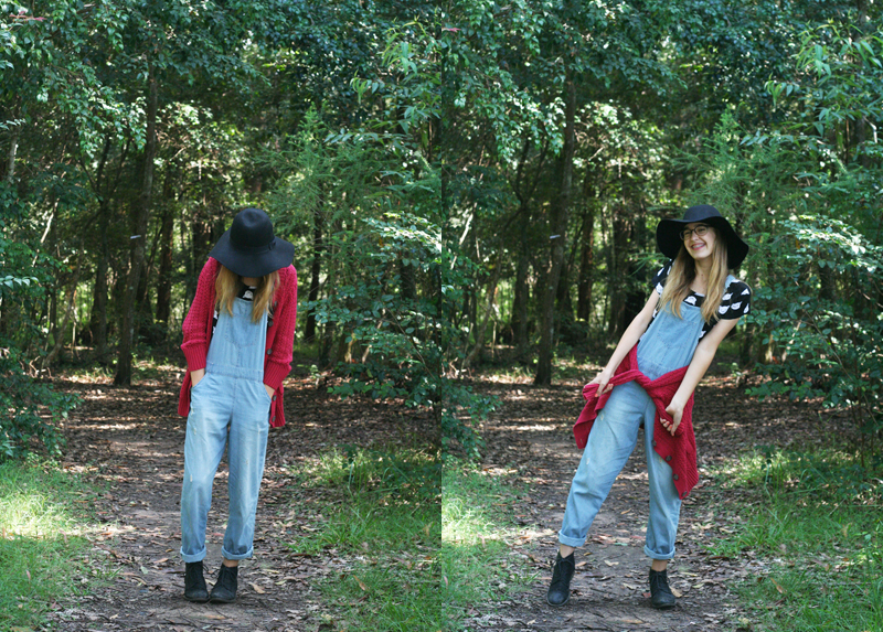 Emily jane target australia blogger ambassador overalls denim pinafore black boots red knit wool cardigan cat kitten crop black fedora hat4