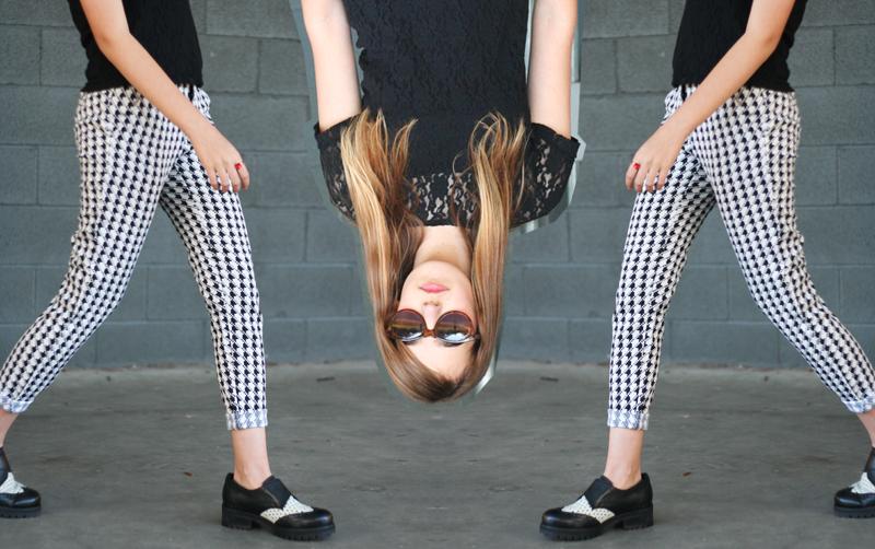 EmilyJane X Choies HoundstoothPrintedPantsTopShopFlatsBlackLaceTopSunglasses fashionbeautybloggerteenagervloggerstyle7