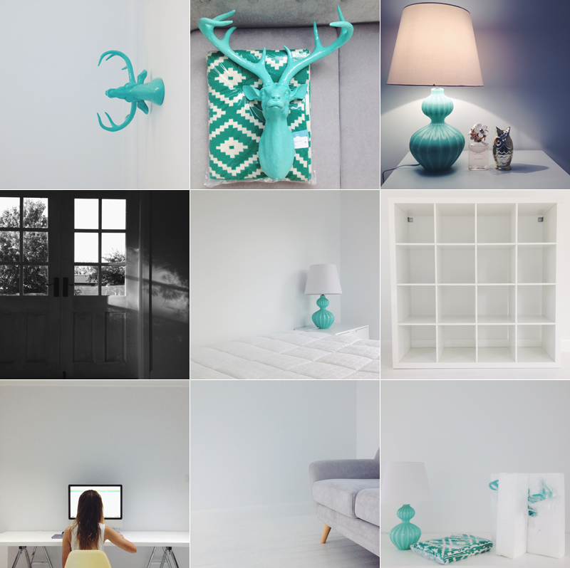 Emily jane bedroom renovation renovating aqua adairs steed deer head desk macbook ikea expedit