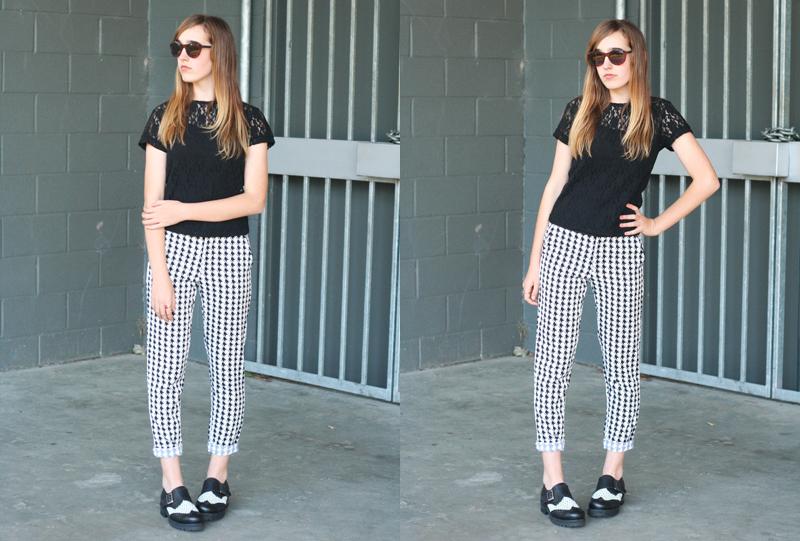 EmilyJane X Choies HoundstoothPrintedPantsTopShopFlatsBlackLaceTopSunglasses fashionbeautybloggerteenagervloggerstyle5